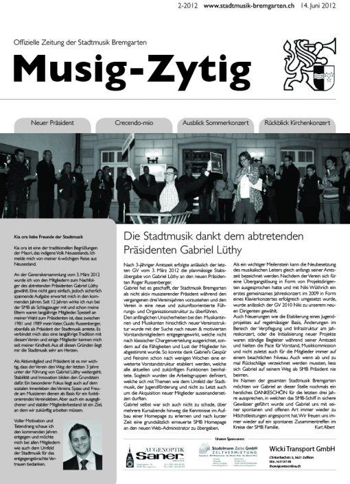 2-2012 www.stadtmusik-bremgarten.ch 14. Juni 2012