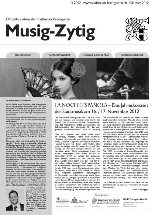 3-2012 www.stadtmusik-bremgarten.ch Oktober 2012