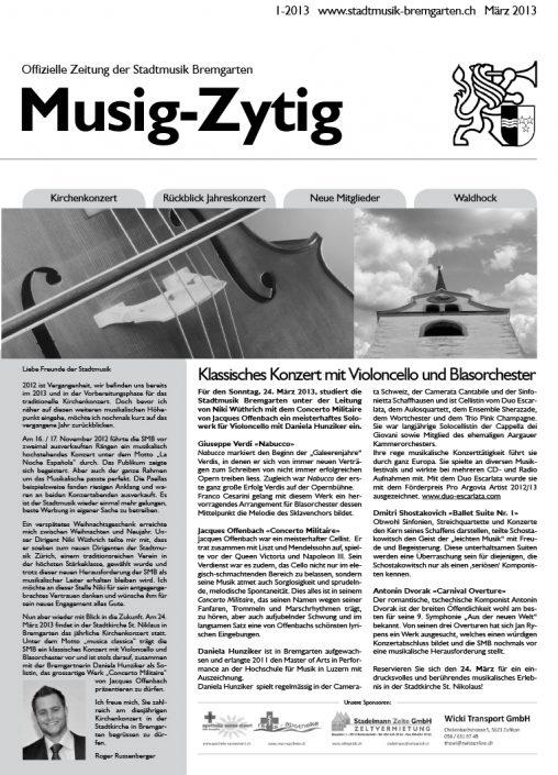 1-2013 www.stadtmusik-bremgarten.ch März 2013