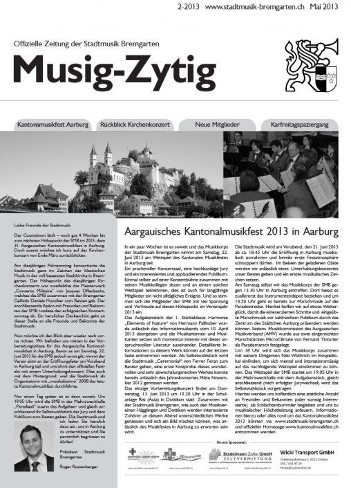 2-2013 www.stadtmusik-bremgarten.ch Mai 2013