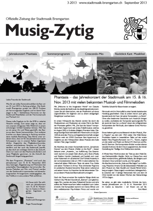 3-2013 www.stadtmusik-bremgarten.ch September 2013