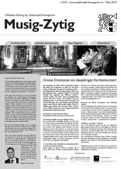 1-2014 www.stadtmusik-bremgarten.ch März 2014