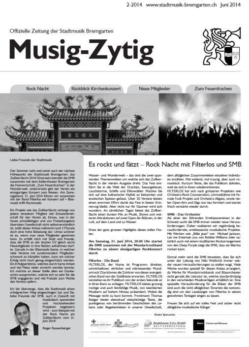 2-2014 www.stadtmusik-bremgarten.ch Juni 2014