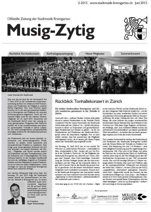 2-2015 www.stadtmusik-bremgarten.ch Juni 2015