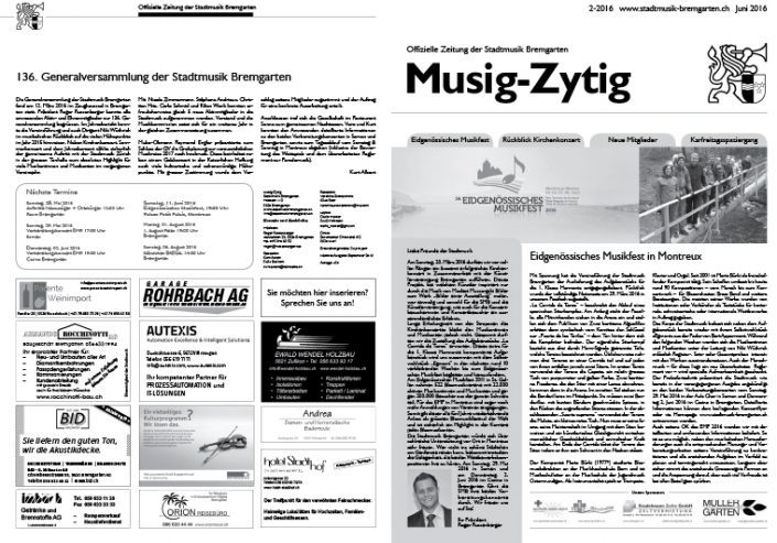 2-2016 www.stadtmusik-bremgarten.ch Juni 2016