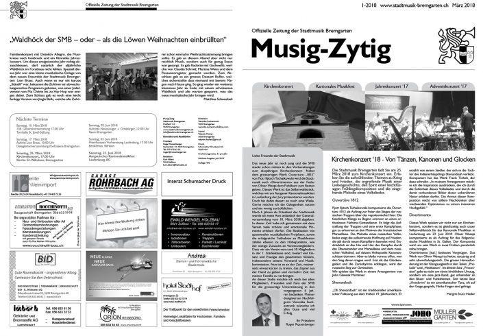 1-2018 www.stadtmusik-bremgarten.ch März 2018